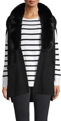 Richard Quinn Faux Fur-Trimed Cashmere Vest