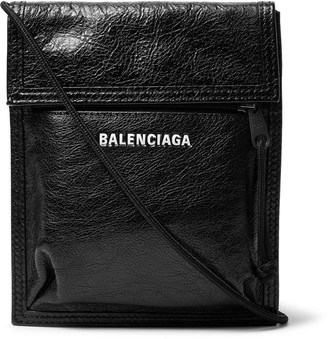 Balenciaga Arena Logo-Print Creased-Leather Messenger Bag