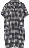 Hatch The Buttondown Plaid Cotton-flannel Dress - Black