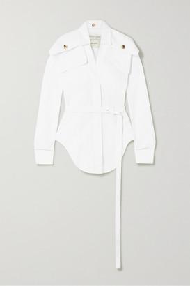 Bottega Veneta Belted Cotton-poplin Shirt - White