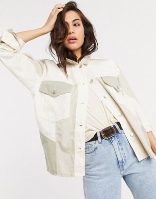 Topshop shacket with contrast pockets in ecru