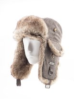 FUR WINTER Wool Blend Tweed Faux Fur Aviator Bomber Trapper Trooper Pilot Ski Hat BRN S/M