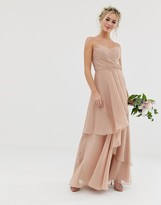 Asos DESIGN Bridesmaid maxi bandeau dress with soft layered skirt