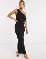 Asos Design DESIGN off shoulder structured maxi dress in black
