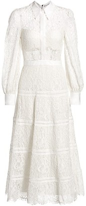 Alice + Olivia Anaya Lace Midi Shirt Dress