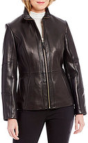 Preston & York Genuine Leather Stand Collar Scuba Jacket
