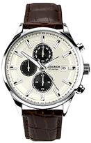 Sekonda 1177.00 Chronograph Date Leather Strap Watch, Dark Brown/cream