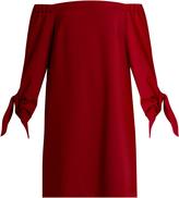Tibi Off-the-shoulder tie-cuff crepe dress