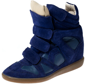 Isabel Marant Blue Suede And Leather Trim Bekett Wedge Sneakers Size 37