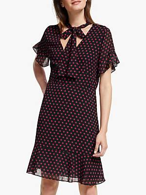 Michael Kors MICHAEL Dot Tie Neck Dress, Black/Scarlet