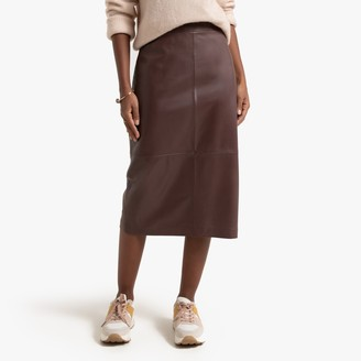 La Redoute Collections Leather Mid-Length Pencil Skirt