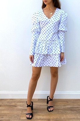 Linzi Gini London Frill Hem Peplum Mini Dress In White Polka Dot