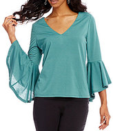 Takara V-Neck Bell Sleeve Top