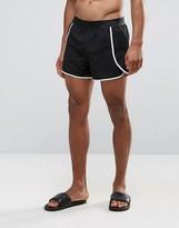 Asos Runner Swim Shorts In Black With Overlap Side Panel