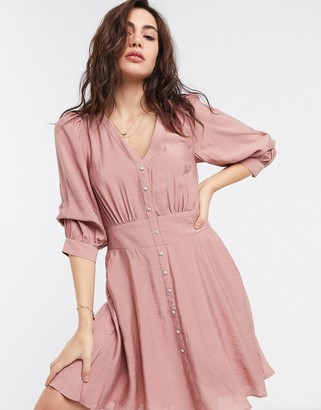 Object mini tea dress with button through in pink