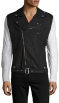 Pierre Balmain Leather Sleeve Motorcycle Jacket