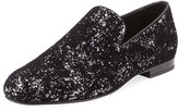 Jimmy Choo Sloane Men's Coarse Glitter Velvet Slipper, Black/Silver