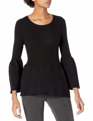 BCBGeneration Women's Ribbed Tulip Sleeve Pullover