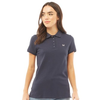 Crew Clothing Womens Exmouth Solid Jersey Polo Navy