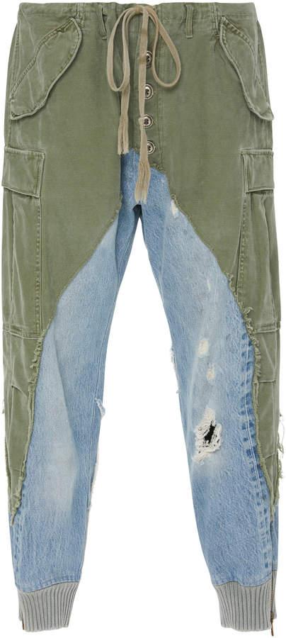 Greg Lauren Paneled Canvas And Denim Tapered Pants