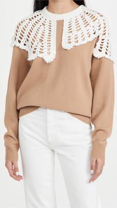 Tibi Lana Crochet Collar Pullover