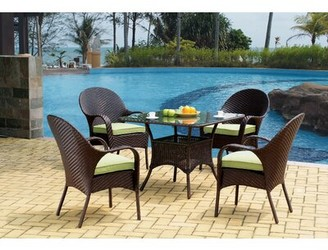 Highland Dunes Isabell Stacking Patio Dining Chair with Cushion Frame Color: Chocolate Brown, Cushion Color: Cast Oasis