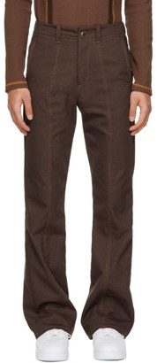Phlemuns Brown Mid-Flare Trousers