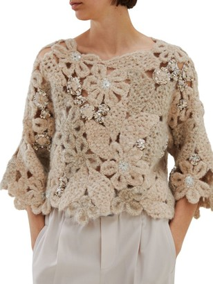 Brunello Cucinelli Embellished Floral Crochet Sweater