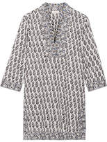 Tory Burch Scultura Printed Cotton-voile Tunic - Navy