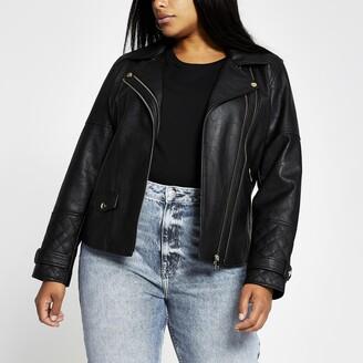 River Island Womens Plus Black zip faux leather biker jacket