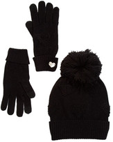 Betsey Johnson Heart Glove & Hat Set