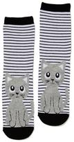 Dotti Fluffy Kitty 3Qtr Crew Sock