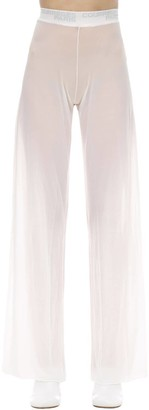 Courreges Wide Leg Patched Mesh Pants