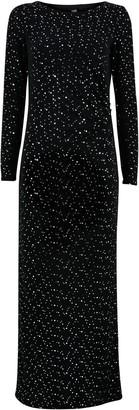 Wallis Black Sequin Ruched Maxi Dress