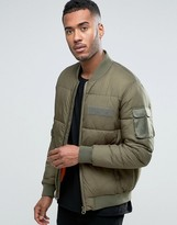 Asos Quilted Bomber Jacket With Ma1 Pocket In Khaki