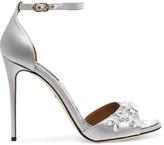 Dolce & Gabbana Swarovski Crystal-embellished Satin Sandals - Silver