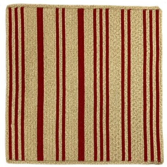Pottery Barn Stripe Square Braided Rug - Red