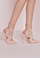 Missguided Tie Back Cut Out Pumps Nude