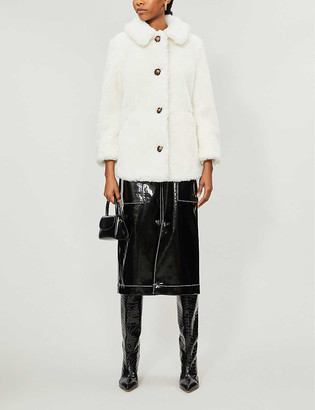 Topshop Spread-collar relaxed-fit teddy coat