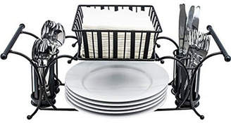 Sorbus Utensil Buffet Caddy Includes Napkin, Utensil, Plate Holder, Stackable/Detachable Ideal for Entertaining, Buffet, Kitchen, Dining, Picnics, etc (Black)