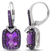 Concerto 0.1TCW Diamond and Amethyst Sterling Silver Drop Earrings