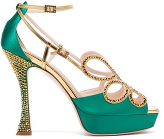 Roger Vivier Queen Crystal-embellished Leather Platform Sandals - Green Multi