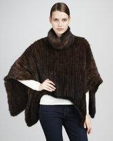 Adrienne Landau Knit Mink Fur Turtleneck Poncho