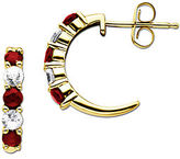 Lord & Taylor Ruby And Sapphire 14K Gold Hoop Earrings