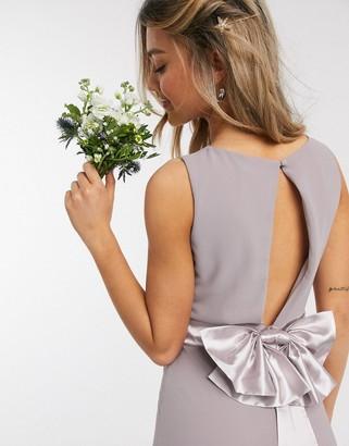 TFNC bridesmaid cowl neck bow back maxi dress in grey