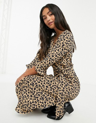 Brave Soul leopard print satin wrap dress