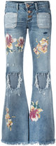 One Teaspoon distressed orchid print flared jeans