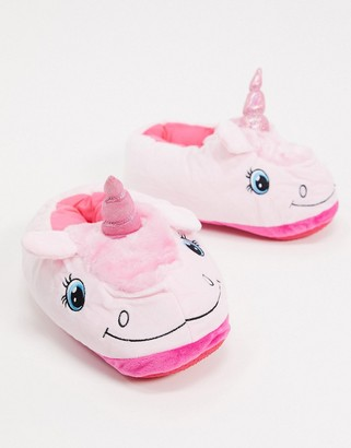 Loungeable 3D unicorn slippers in pink
