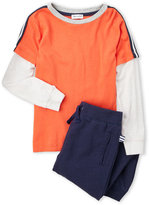 Splendid Toddler Boys) Two-Piece Color Block Long Sleeve Tee & Sweatpants Set