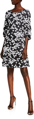 St. John Wild Flower Jacquard Boat Neck Poet Sleeve Dress